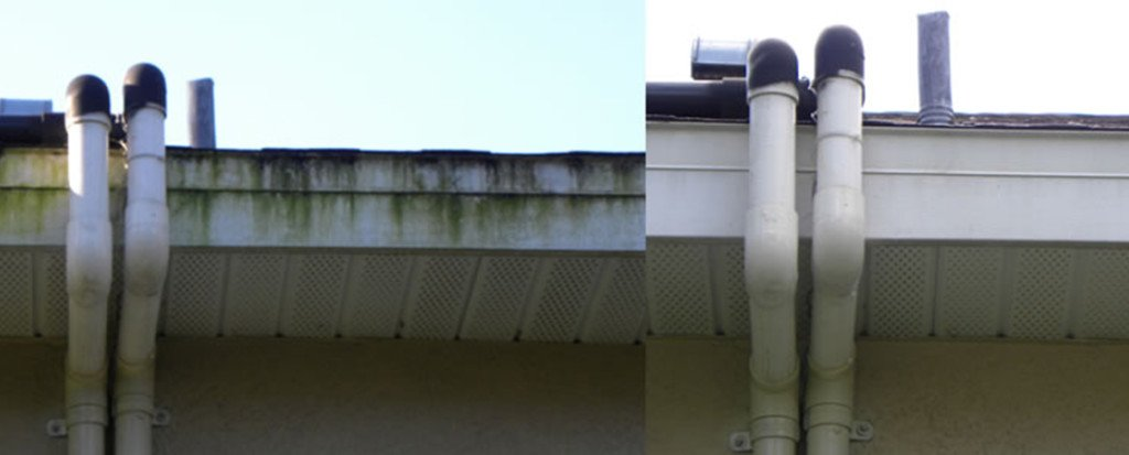 Before and After Pressure Washing Tampa Roof Siding